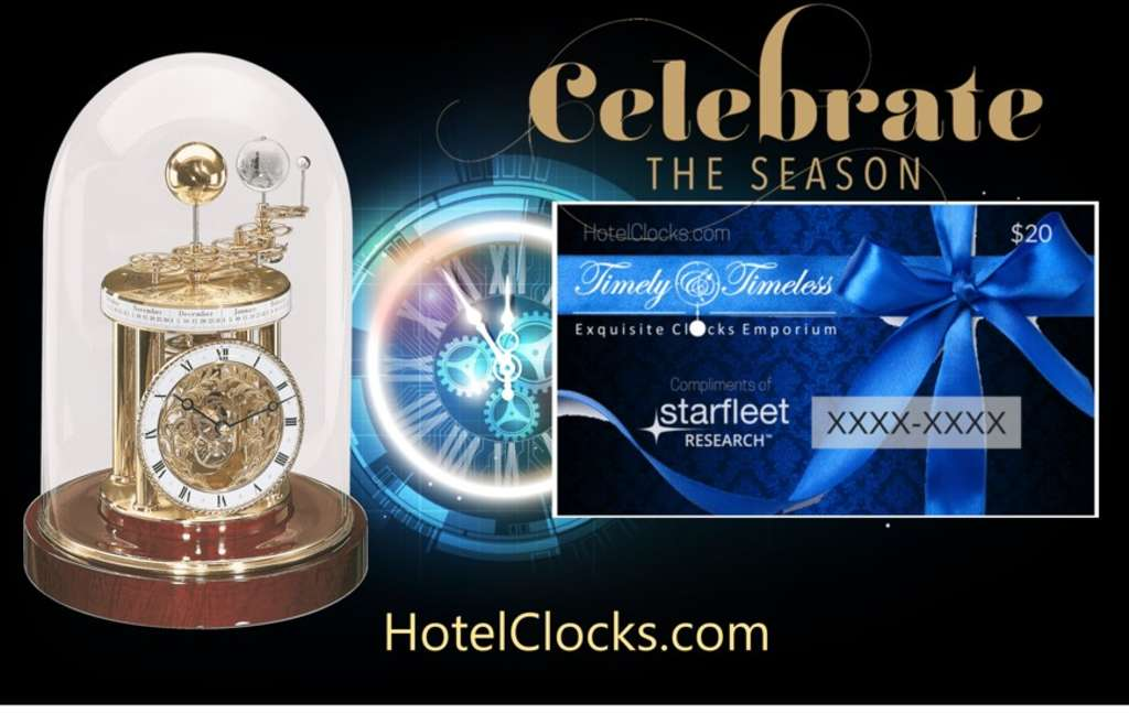 Complimentary HotelClocks.com Gift Cards, Courtesy of Starfleet Research